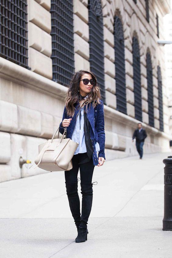 suede moto jacket blue elegant