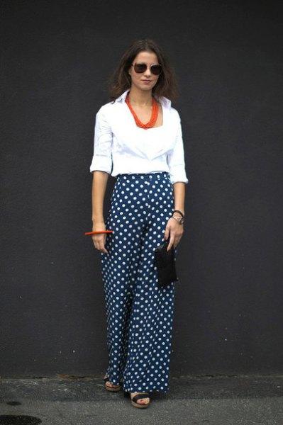 white cabbage blouse black polka dot wide leg trousers