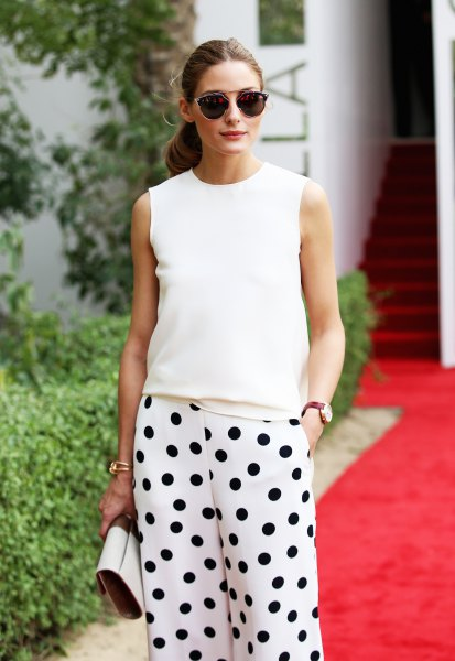 wide leg polka dot pants white sleeveless sweater