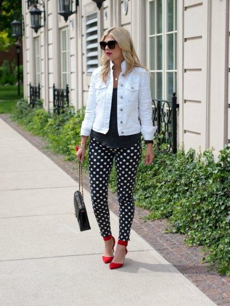 black polka dot white denim jacket