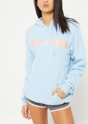 sky blue embroidred hoodie gray floating mini shorts