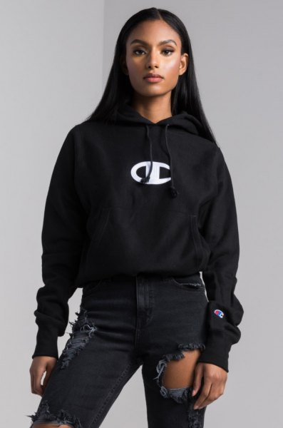 black logo embroidered hoodie ripped jeans