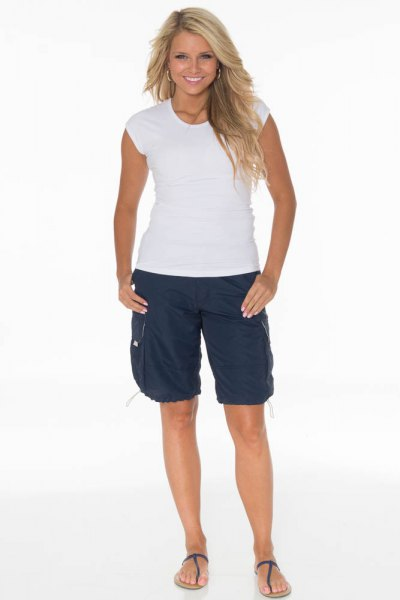 white cap sleeve tee navy blue long cargo shorts
