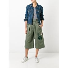 long flared embroidered cargo shorts denim jacket