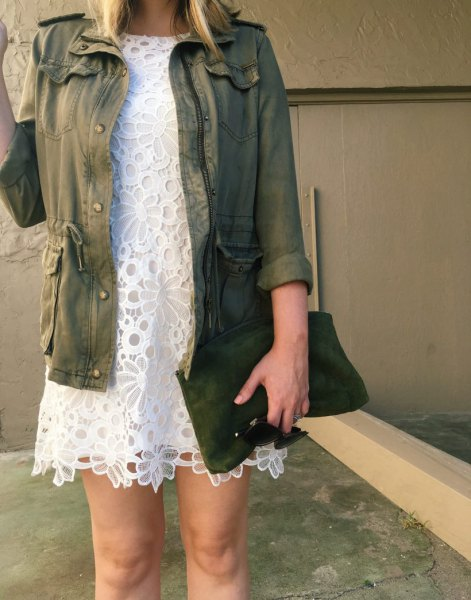 anorak jacket white lace mini shift dress