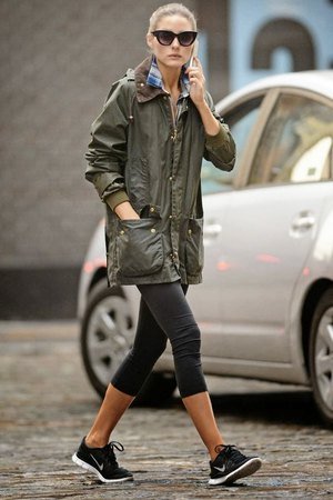 green long anorak jacket plaid boyfriend shirt