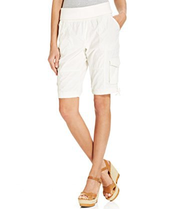 gray t-shirt white knee length cargo shorts