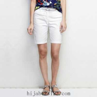 floral tee with blue print with white shorts