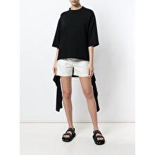 black large tee-white mini-shorts