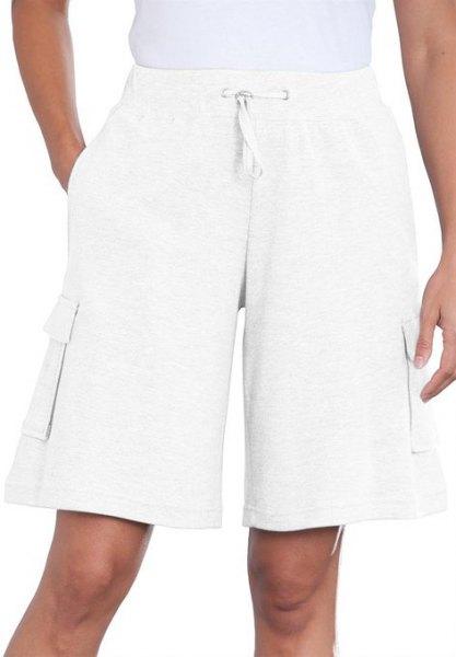 knee length flared white shorts