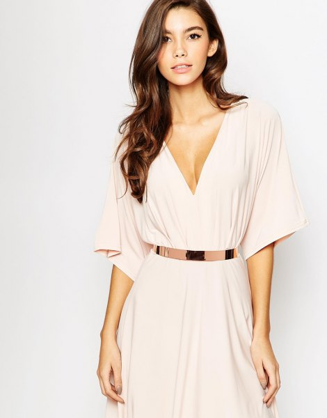 light pink deep v-neck belt midi blown dress