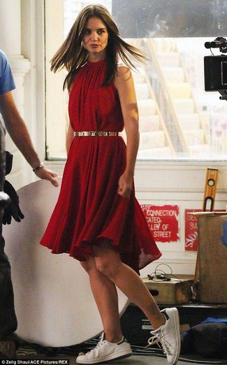 red mock neck midi skater dress gold waist belt