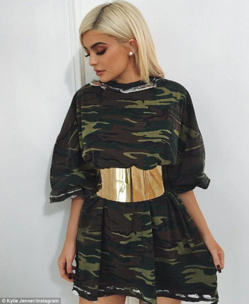 camo mini skater dress gold belt