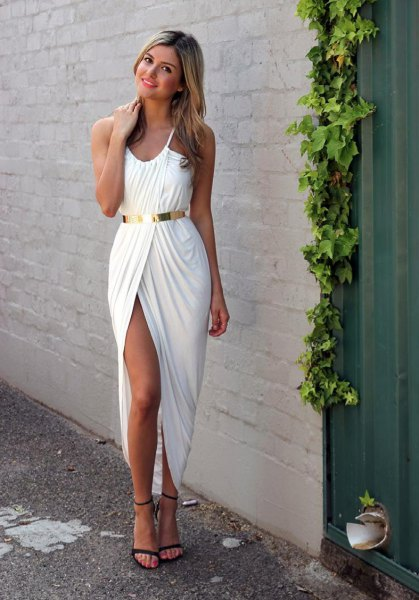 gold metallic waist belt white high split high low dress