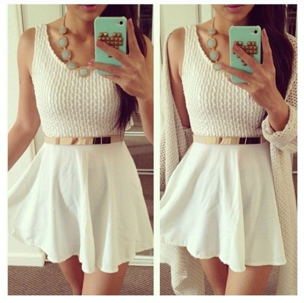 white two toned mini skater dress gold belt