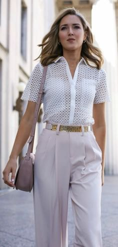 white crochet semi-clean button up shirt