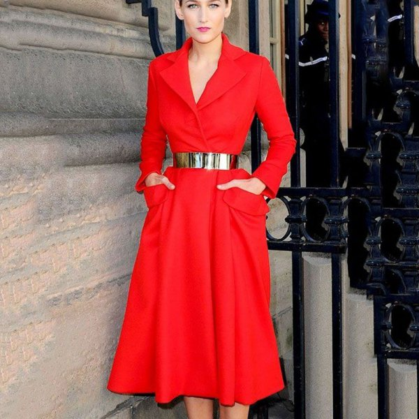 gold metallic belt red blazer midi dress