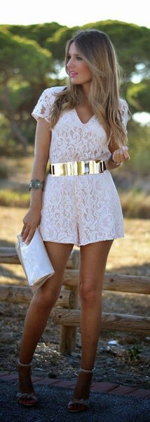 white effect rompers gold waist belt