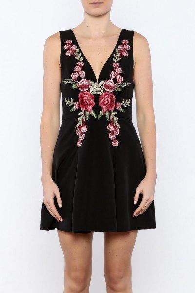 black deep v-neck pink embroidered mini flared dress