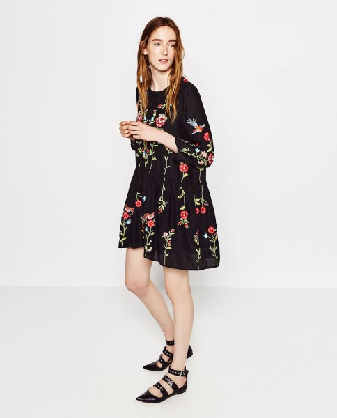 black flared mini embroidered dress strappy flat