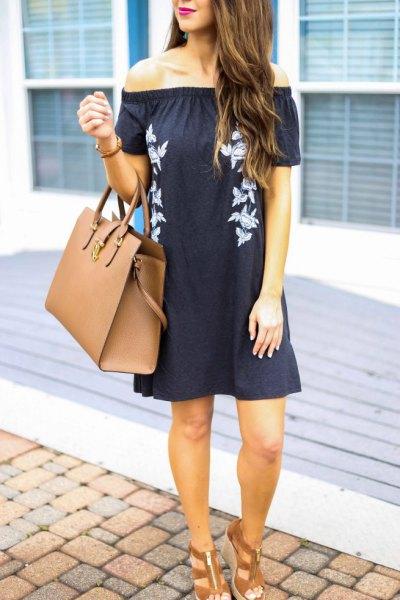 black off shoulder mini shift dress brown striped sandals