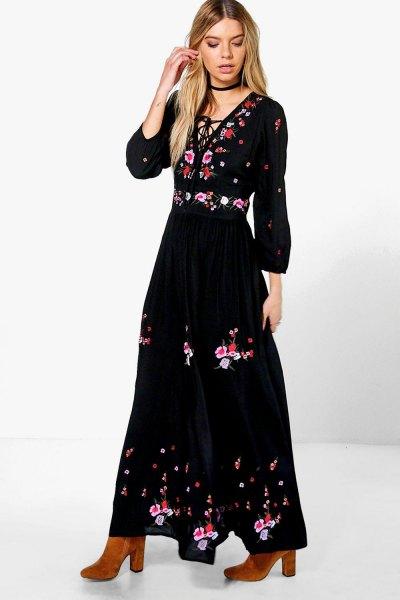 black gathered waist deep v-neck maxi dress