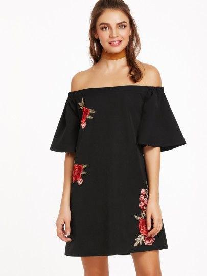 black off the shoulder mini shift dress subtle embroidered details