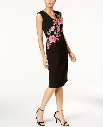black rose embroidered sleeveless waist dress