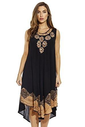 black stem embroidered tank high low midi shift dress