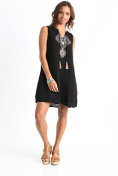 black sleeveless tribal dress
