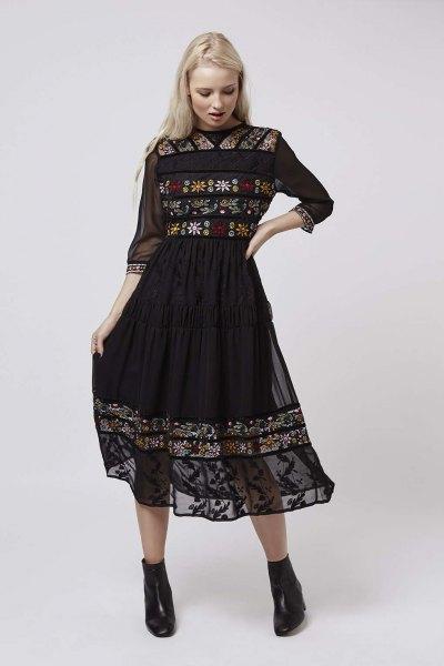 black three quarter sleeve chiffon embroidered flared midi dress