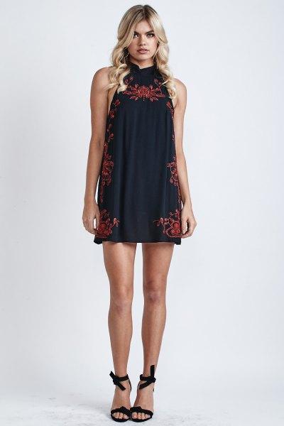 black halter neck mini shift dress red embroidered detail
