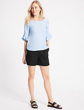 blue watch sleeve chiffon blouse black cargo shorts