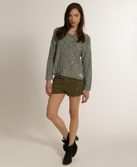 Heather gray comfy sweater khaki cargo mini shorts