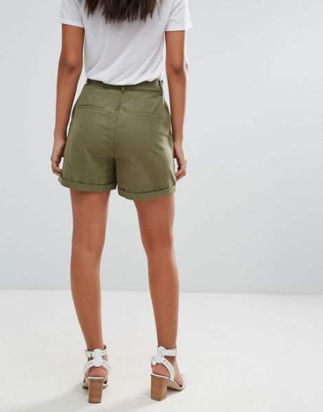 white t-shirt green cargo shorts with heel sandals