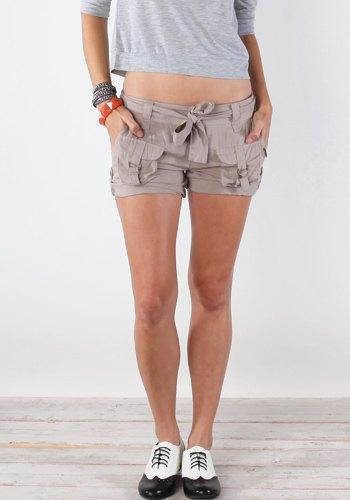 gray cropped long sleeve tee cargo shorts