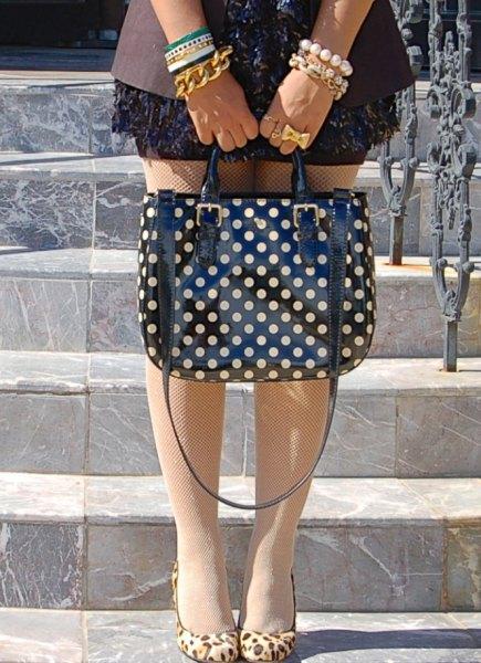 blazer mini dress black and pink polka dot handbag
