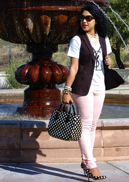 black and white polka dot wallet and vest