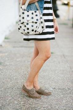 pink polka dot handbag denim jacket striped mini dress