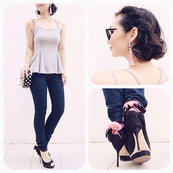 pale pink vest top skinny jeans
