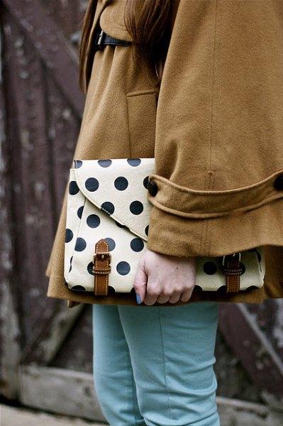 white and black polka dot leather clutch bag camel wool coat