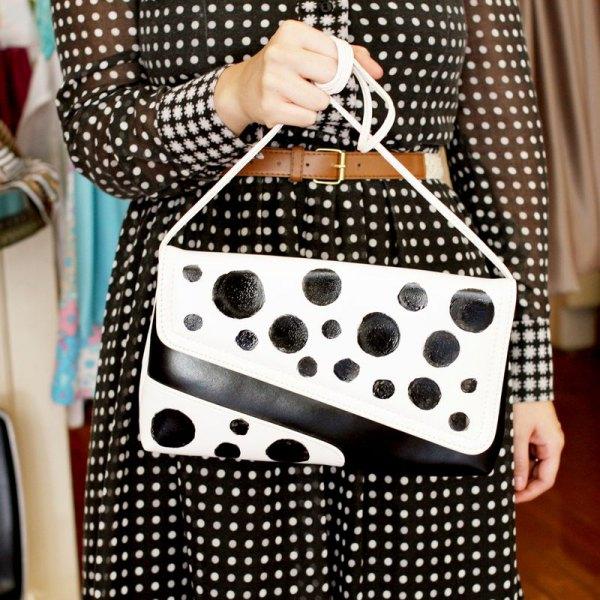 black and white spotted belt dress matching handbag