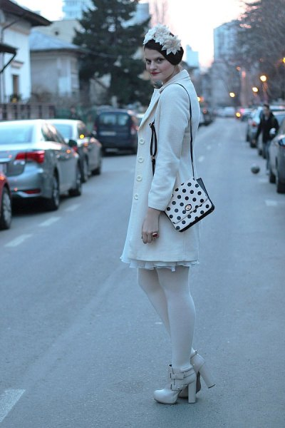 polka dot wallet white wool coat pleated dress