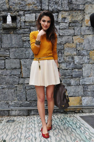 orange fitted knit sweater white mini skater skirt