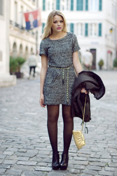 Heather gray mini dress with gold chain and boots