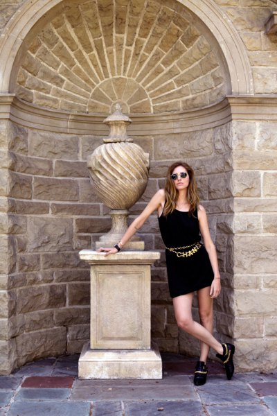black tank mini dress gold belt