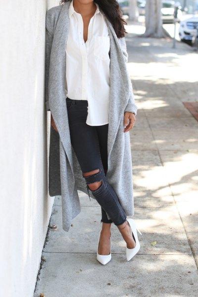 white sleeveless blouse gray cashmere maxi cardigan