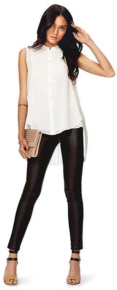 white chiffon sleeveless blouse leather leggings