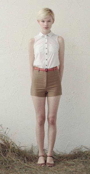 white button up sleeveless blouse green high waist mini shorts