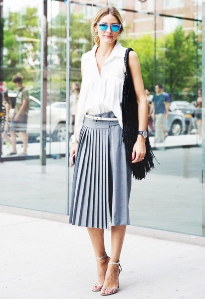 white sleeveless blouse gray midi-pleated skirt